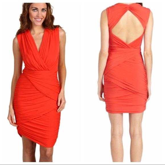 Bcbgmaxazria Dresses Ruched Red Dress Valentines Day M Poshmark